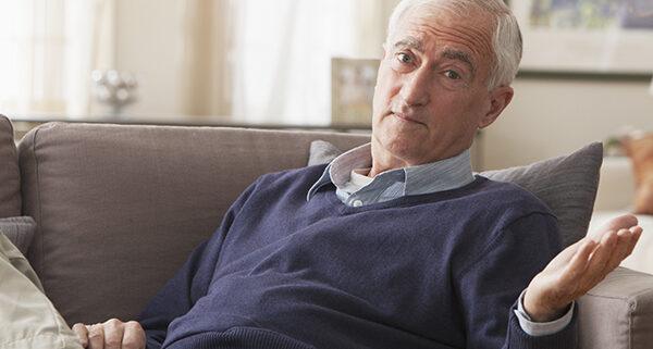 senior man making hand expression, Denying A Dementia Diagnosis